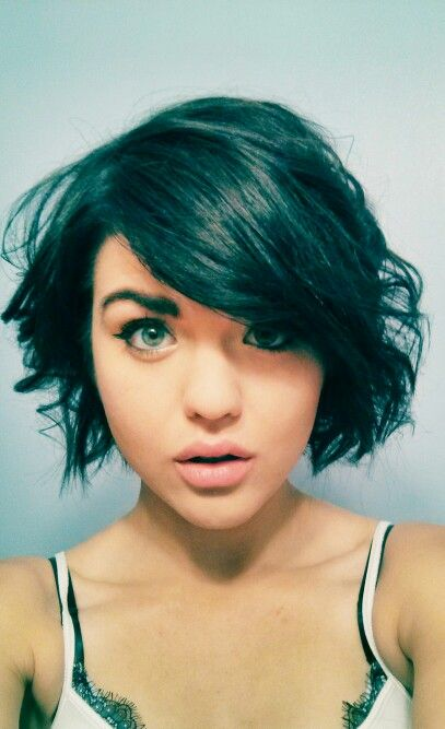 Short, wavy hair. Don't know if I could deal with bangs in my face, though...