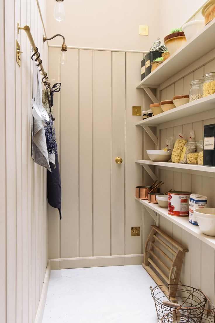 Tongue and groove kitchen cabinets - The Dreamy Walk In Pantry In Devol S St John S Square Showroom Complete With Tongue And Groove Panelling And A Brass Hanging Rail For Aprons Breadboards