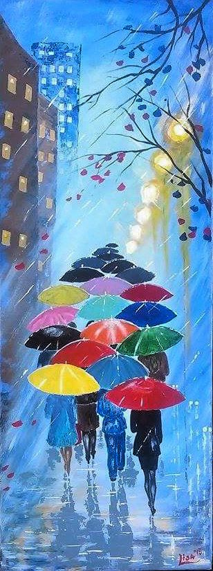 Original Abstract Painting Acrylic   A Couple With Umbrella   Forest Rain  Landscape   Colorful Abstract Palette Knife