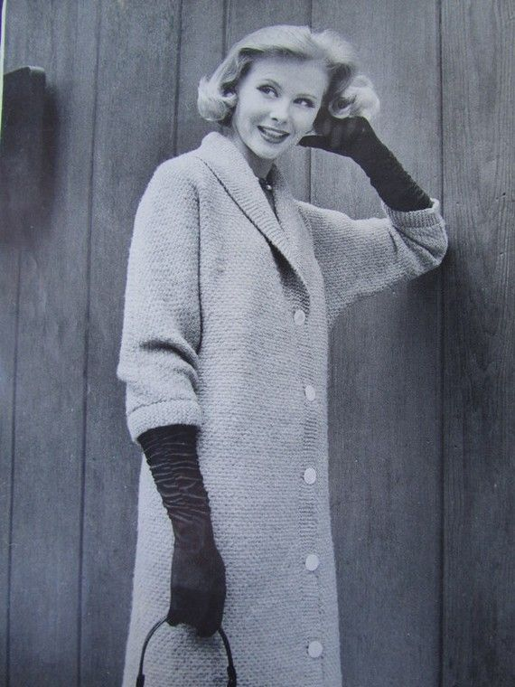 Knitted Sweater Coat Pattern 1950's Vintage by vintageknitcrochet, $3.00
