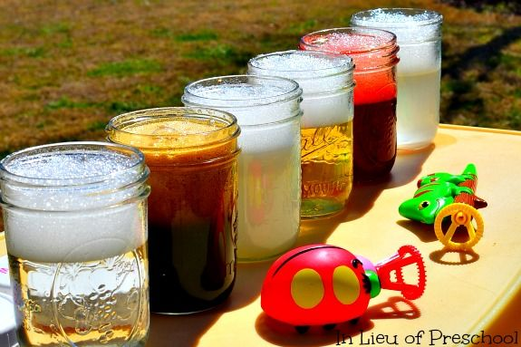 Great play date or after school activity to sneak in a little science learning: homemade bubble solutions!