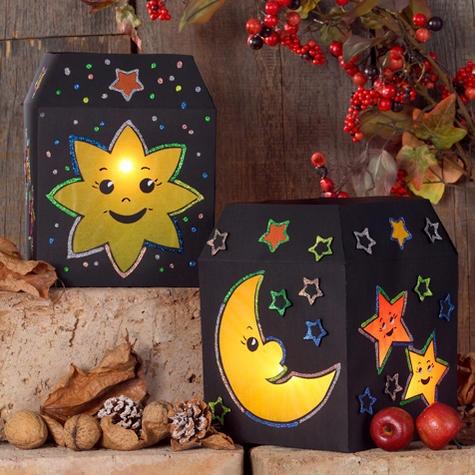 Dieses DIY ist super für St. Martin: Eine gebastelte Laterne mit Sonne, Mond und Sterne!