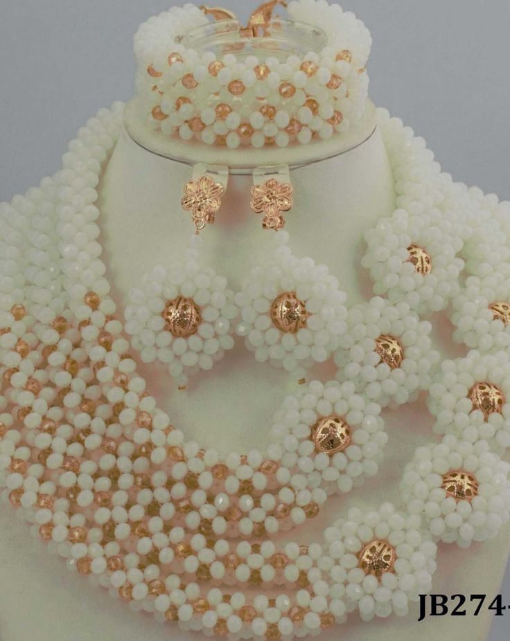 Amazing White African Beads Jewelry Set Nigerian Beads Necklace Gold Plated Jewelry Sets