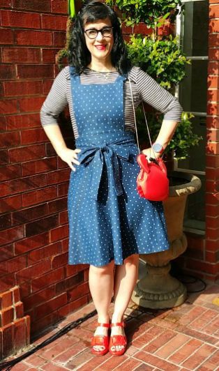 Sandee's Miette skirt, with added pinafore bib! - original sewing pattern by Tilly and the Buttons