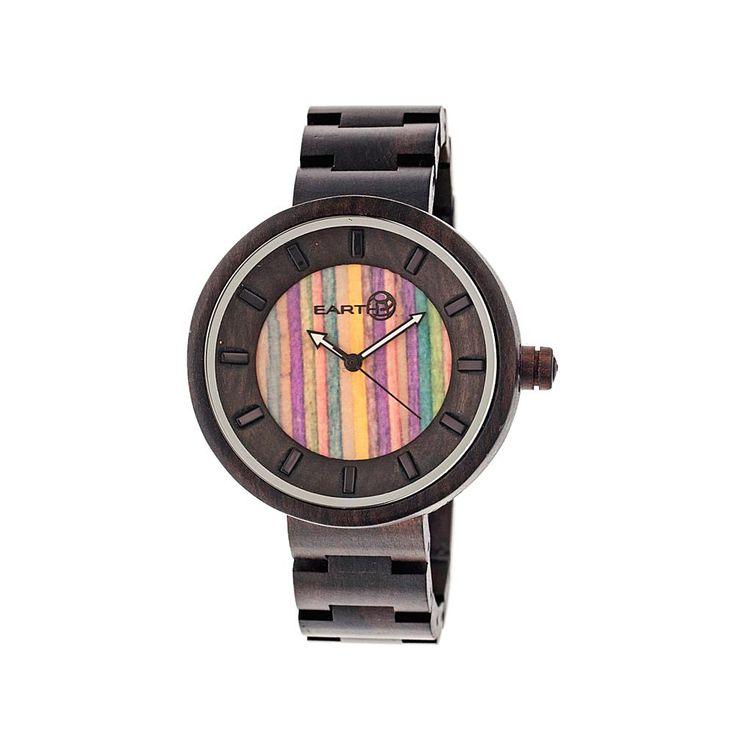 Earth Wood Goods Watches Earth Wood Root Skateboard Dial Dark Brown Wood Bracelet Watch