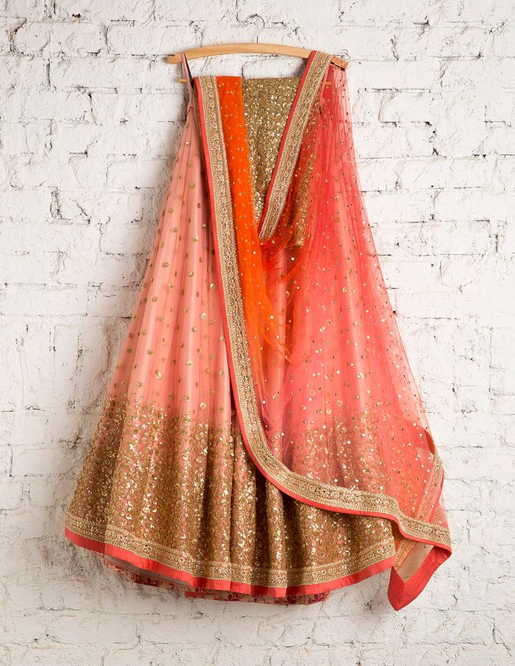 This ombre peach red sequins Swati Lehenga is the perfect pick for grooms sister outfit. #Frugal2Fab