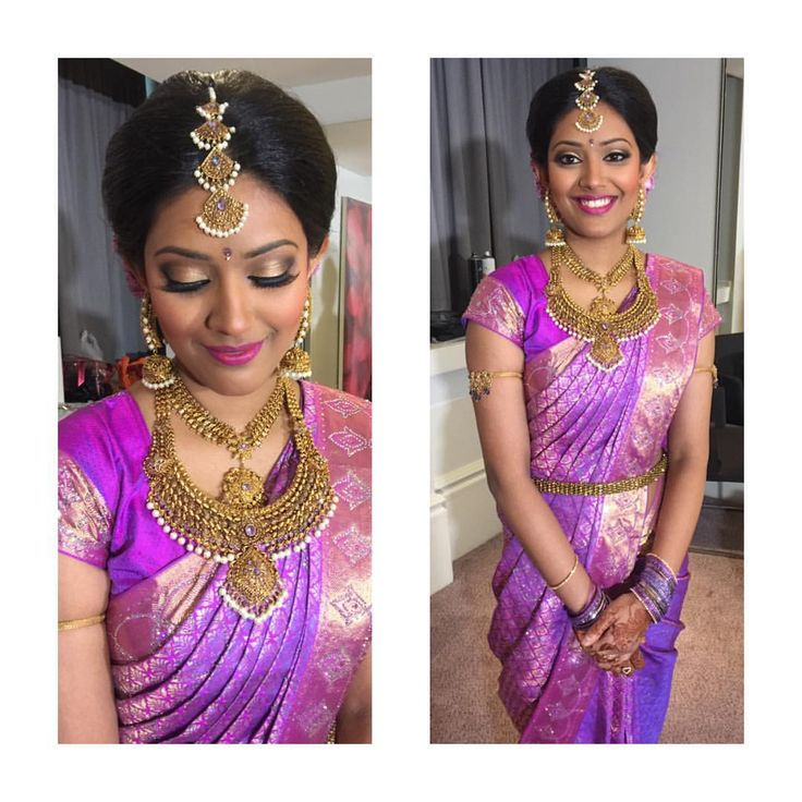 South Indian bride. Gold temple jewelry. Jhumkis.Purple silk kanchipuram sari.Bun.Tamil bride. Telugu bride. Kannada bride. Hindu bride. Malayalee bride.Kerala bride.South Indian wedding