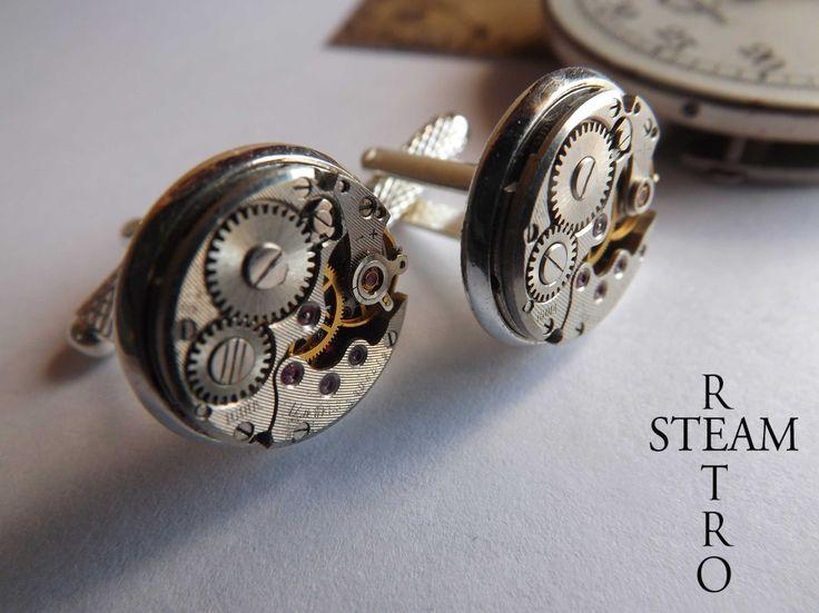 Steampunk Boutons de manchette de mariage boutons de manchette Steampunk Steampunk Bijoux par Steamretro 16mm : Bijoux pour hommes par steamretro