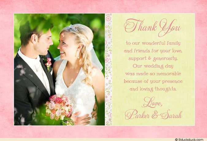 A shabby chic floral pattern emphasizes your photo on this pink & green wedding photo thank you card.