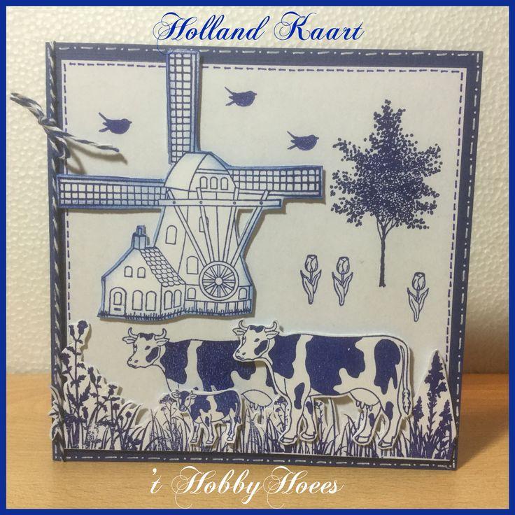 """Een typische """"Holland Kaart"""" 1. Gestempeld met de clearstamps van Aurelie, de boom van de Stempelfabriek en het gras van Craft Emotions. De blauwe inkt is van Versafine: Majestic Blue. Het gras is in gedeeltes gestempeld. Inkt dat deel van je stempel, dat je wilt stempelen en """"plak"""" het zo aan elkaar oftewel stempel het naast elkaar. Je krijgt zo net iets meer diepte in je kaart. 't HobbyHoees 28 mei 2016"""