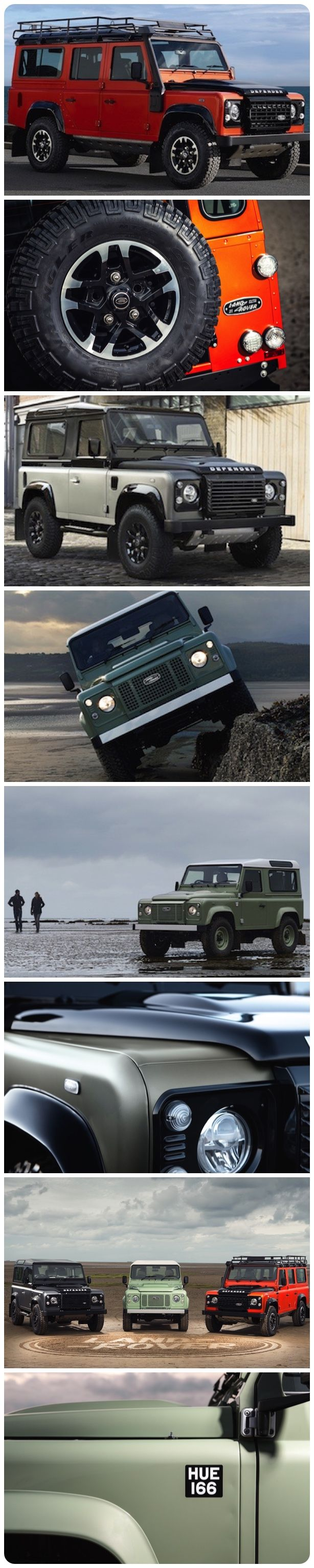 "Land Rover Defender Heritage, Adventure and Autobiography to mark 2015 and the end of production in Solihull, UK.  ""Land Rover wanted to mark the end of Defender production at Solihull with a special edition but coming up with a single identity was impossible, so we developed three very different interpretations of the Defender to reflect its strength and breadth of character.""  Nick Rogers - Land Rover Vehicle Line Director #landrover #4x4 #newcars #limitededition #offroad"