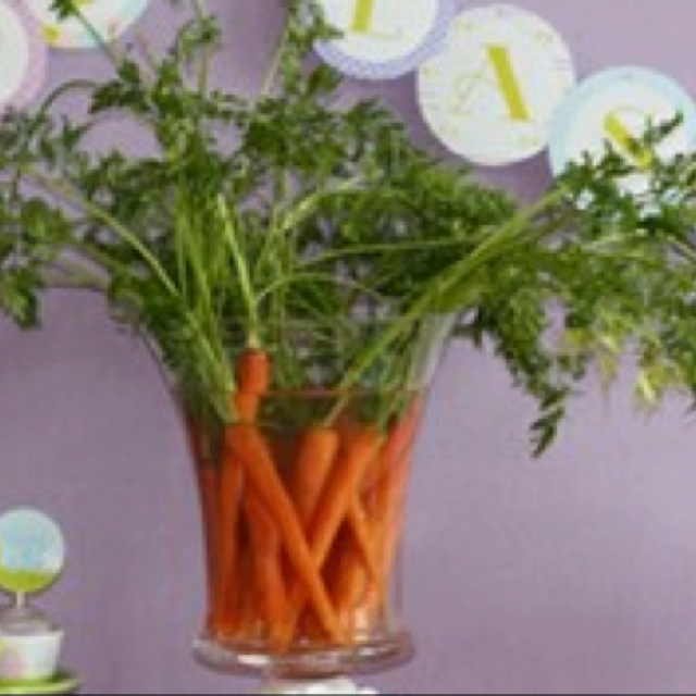 Easy Easter centerpiece with carrot tops!