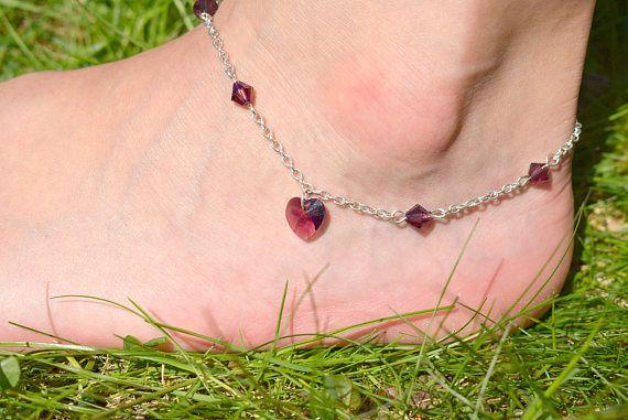 Amethyst Heart Anklet  Swarovski Crystal Heart Ankle Bracelet