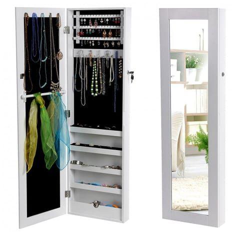TOP PRIX Armoire à bijoux Armoire murale Rangement avec Miroir et clés (Blanc) neuf