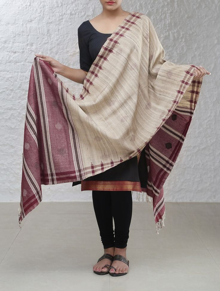 Orissa Tribal Koraput Tussar Silk-Cotton Dupatta   - This exquisite dupatta has been handwoven in the Koraput district of Odisha.  - These colors adorning the dupatta are created from the vegetable dye derived from the aal tree grown locally, with the age of the tree bark and proportion used determining the darkness of the color.   #mystatewithjaypore