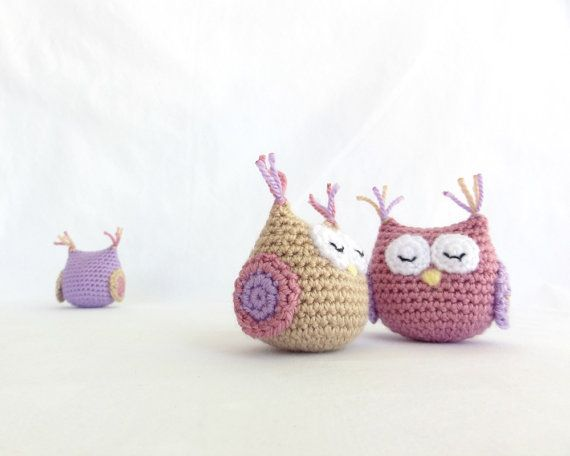 Amigurumi Owl, Crochet animal, handmade crocheted owls, Pastel colors: orchid, lilac, beige