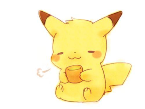 Kawaii Pikachu with Tea