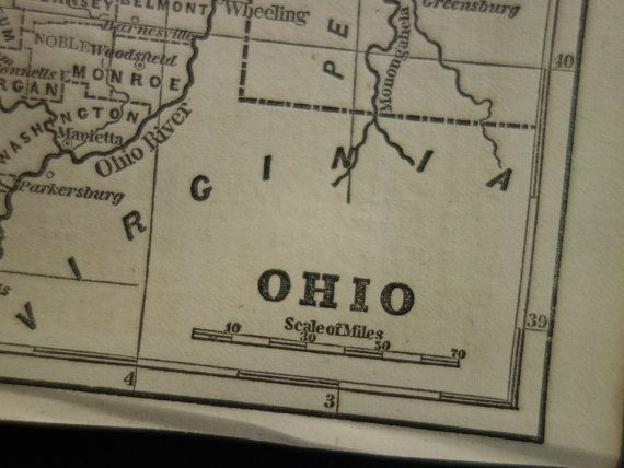 160 years old map of Ohio  original 1854 by DecorativePrints