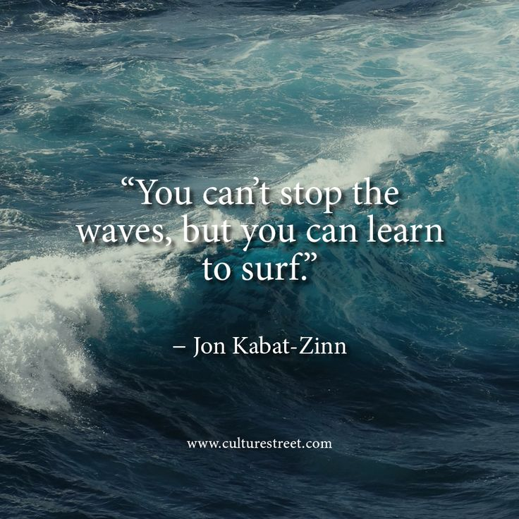 Jon Kabat-Zinn.  You can't stop the waves is a great quote