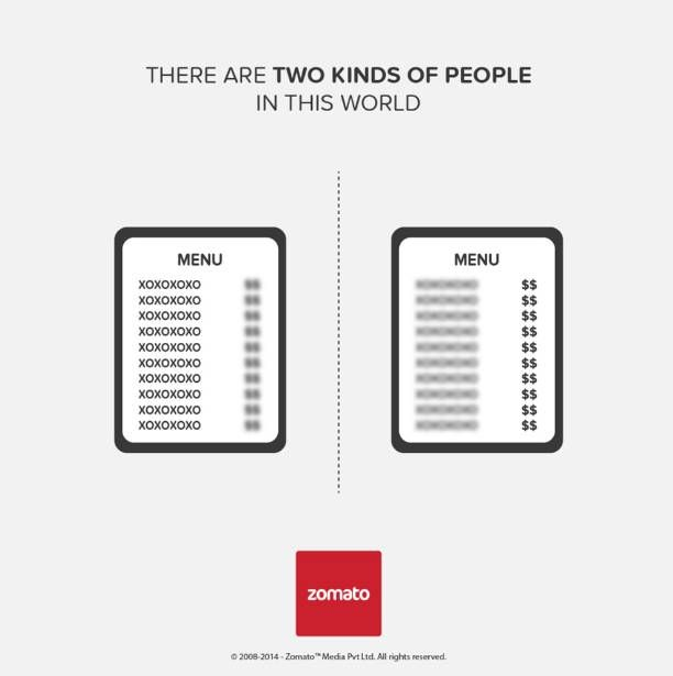 two kinds of people in this world - ad by Zomato - selecting from a menu