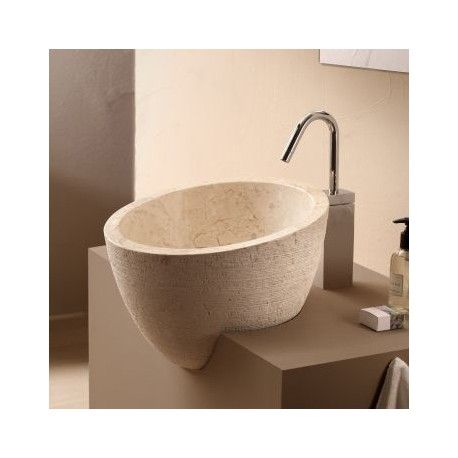 Vasque à poser ronde asymétrique pierre naturelle beige Deco Rue