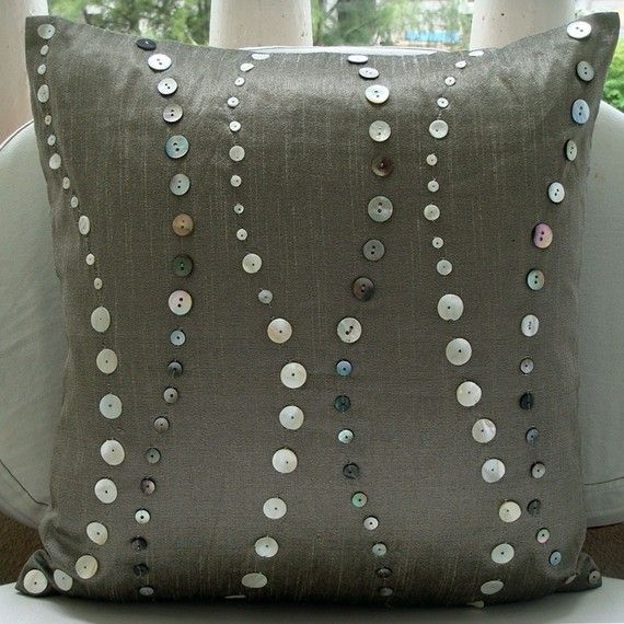 Designer Grey Decorative Pillow Cover 16x16 Silk by TheHomeCentric