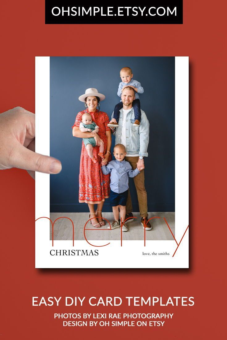 Minimalist Christmas Card Template Diy Modern Holiday Photo Etsy Modern Holiday Photo Cards Holiday Photo Cards Template Minimalist Christmas Card