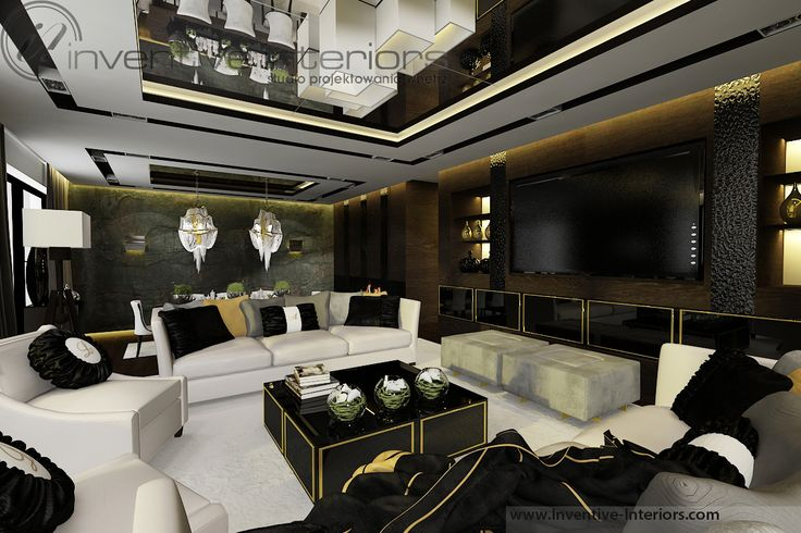 Projekt apartamentu 130m2 Inventive Interiors - ciemny nastrojowy salon - ciemne drewno, jasne sofy, akcent złota