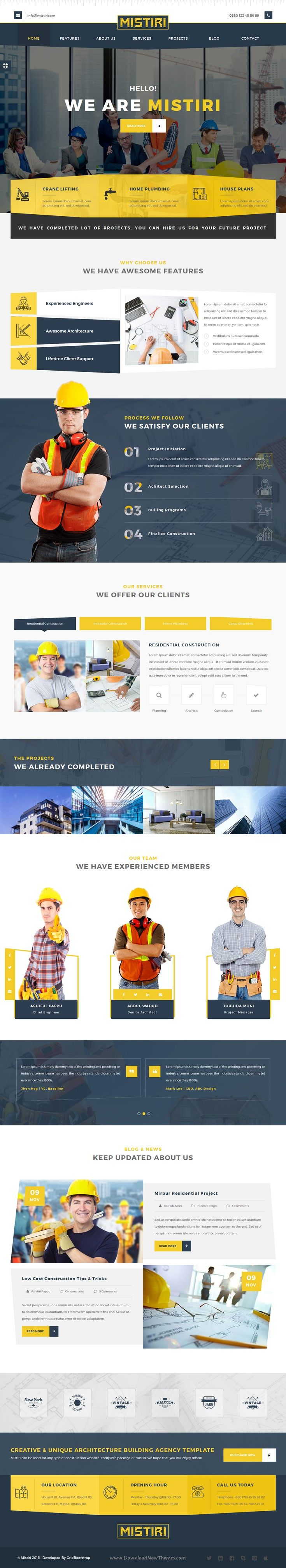 Mistiri is a modern Bootstrap HTML Template for Building, Plumber, #Architecture and #Construction agency #website. Download Now!