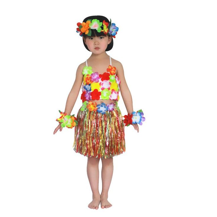 >> Click to Buy << Child Hawaiian Grass Skirt Flower Hula Lei Garland Flower Top+Dress Costume 5pcs #Affiliate