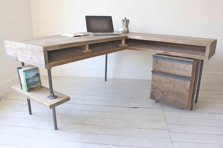 Stuart Reclaimed Scaffolding Board Industrial Corner L-Shaped Desk with Built In Storage and Steel Legs - Matching Filing Cabinet Optional by inspiritdeco on Etsy https://www.etsy.com/listing/174647790/stuart-reclaimed-scaffolding-board