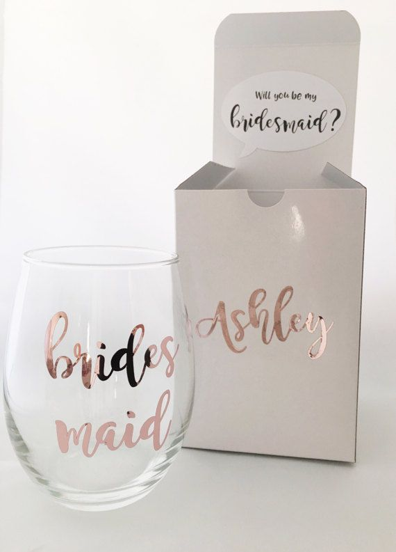 **Limited supplies available* 2-3 week turnaround** You said yes now its time to propose to those bridesmaids, flower girls, and dont forget your maid of honor too! Do it in style with this beautiful and personalized proposal box! and whats best is that it comes with the wine glass too! Not only will your presentation be spot on, but this will make a beautiful keepsake for everyone! For small order of 2 or less, the box comes assembled with the proposal card and the wine glass inside to…