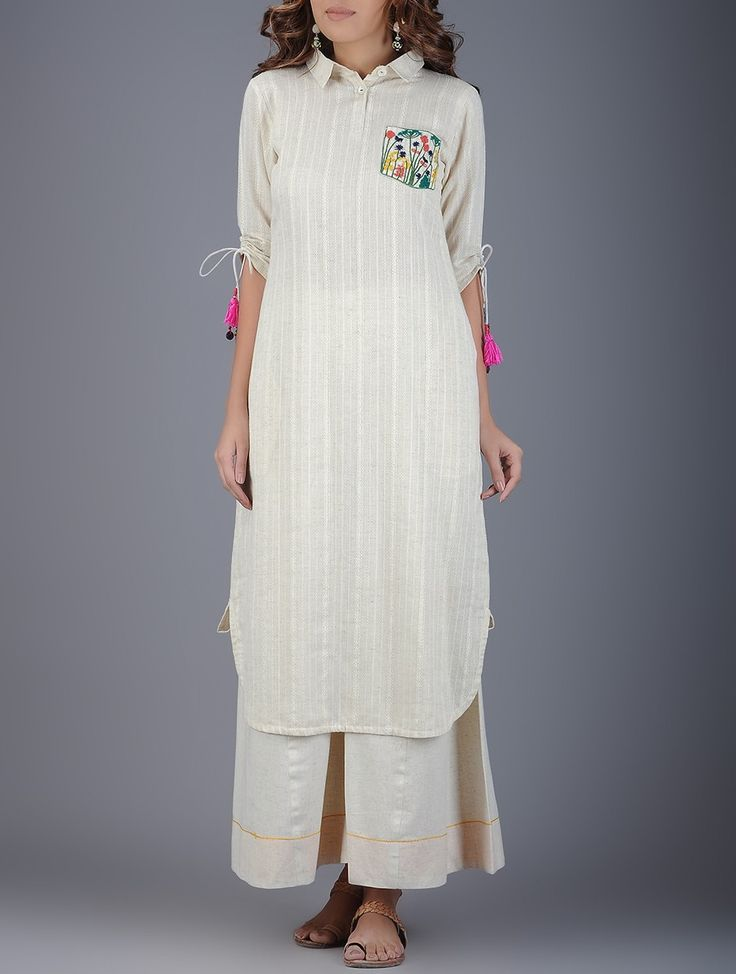 Buy Ivory Coral Green Collared Handwoven Khadi Kurta with Embroidered Pocket Women Kurtas Online at Jaypore.com