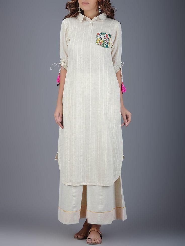 Buy Ivory Coral Green Collared Handwoven Khadi Kurta with Embroidered Pocket Women Kurtas Online at Jaypore.com