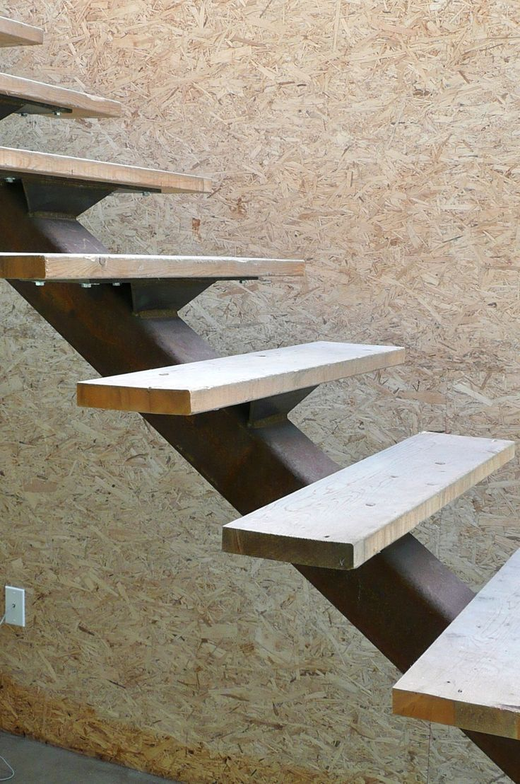 "Stairs w/Temporary Treads I designed these stairs to try to ""tread"" lightly (pun intended ;-) on the space and to have as light a presence as possible. When we installed the steel strin…"