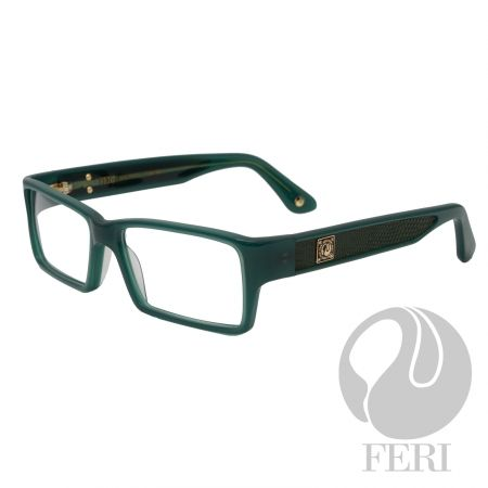 FERI - Madrid Green - Optical  - FERI Optical glasses are manufactured in Italy - Green acetate optical glasses - Embellished with genuine lizard skin - FERI plate on both outer arms - Rectangular frame shape - Comes with non-prescription plano lens  *FERI Optical glasses DO NOT come with prescription lenses. Please take the frames to your Optician to have your custom prescription lens installed.*  Invest with confidence in FERI Designer Lines.