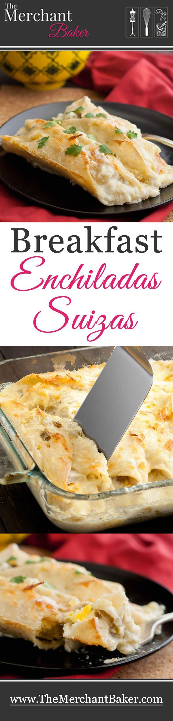 Breakfast Enchiladas Suizas. Scrambled eggs, sausage and Monterey Jack cheese are wrapped in corn tortillas and baked in a green chili sour cream sauce.