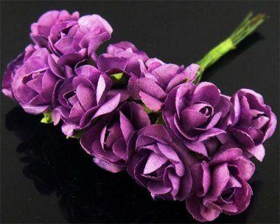 Dekorations Rosor 15mm - 12 st Lila