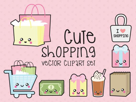 Premium Vector Clipart Kawaii Shopping by LookLookPrettyPaper