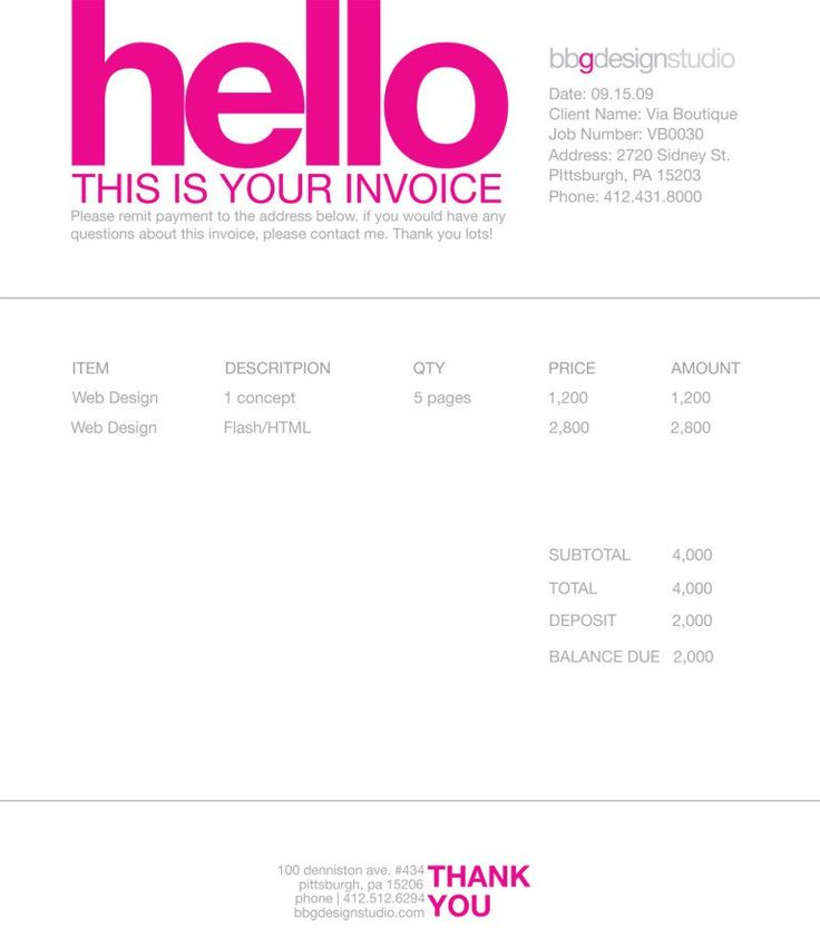 24 best DESIGN Invoices images on Pinterest Invoice template - work invoice template free