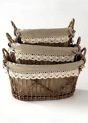 Pretty lined baskets.