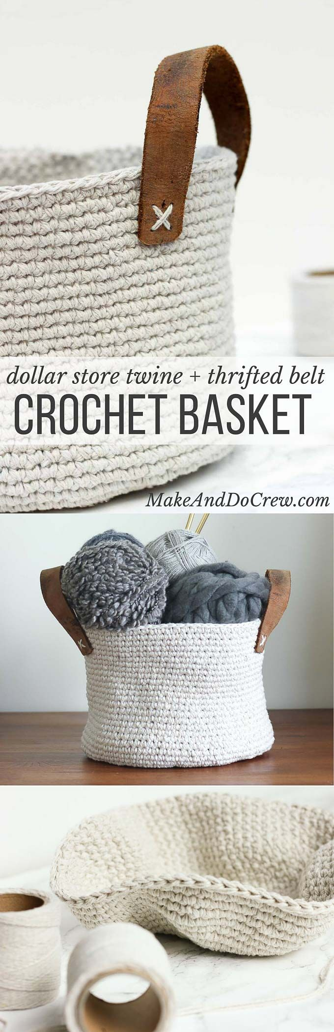 Combine cheap twine and a thrifted leather belt. Free crochet pattern for any size basket at the Make and Do Crew.