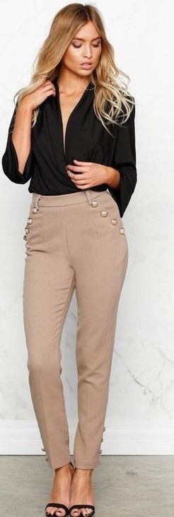 #fall #work #outfits | Black Top + Camel Pants