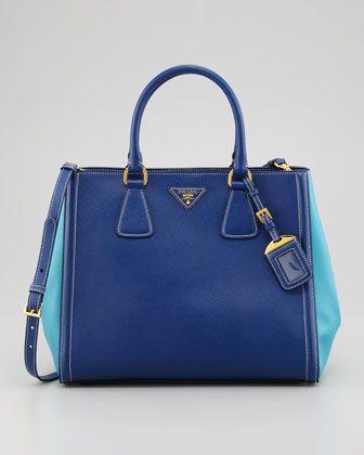 Prada Saffiano Bicolor Tote Bag - Neiman Marcus