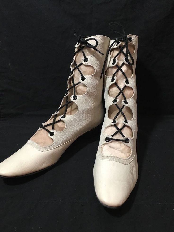 White Suede Leather Granny Boots Lace Up Size 7.5 N Steampunk Pinup Fetish VTG #Rivieras #MidCalfBoots