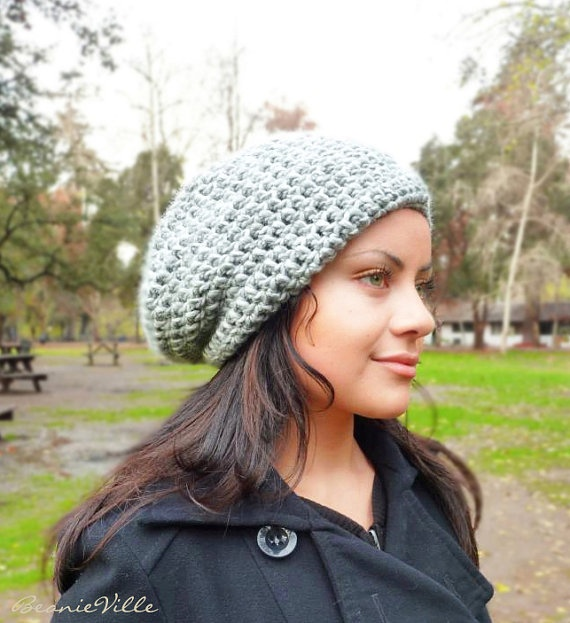 Slouchy beanie hat  PEARL GRAY  chunky  crochet  by BeanieVille, $24.95