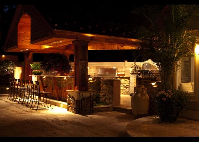 outdoor kitchen featuring hardscape lighting by integral lighting outdoor entertainment pinterest - Outdoor Kitchen Lighting Ideas