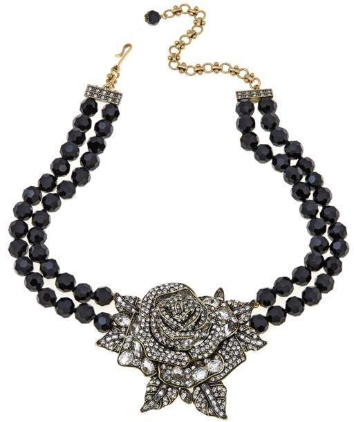 "Heidi Daus Enchanted Beauty"" 2-Strand Beaded Rose Crystal Drop Necklace"