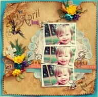 Vintage burnt paper with turquoise background and yellow floral accents