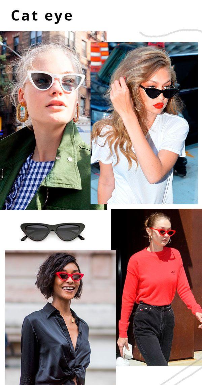 Os anos 50 foram marcados pelo shape gatinho dos óculos de lentes escuras e  armações coloridas- principalmente nos tons de preto, vermelho e branco. 4cd1540e61